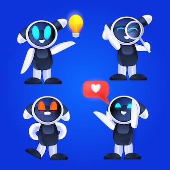 Cute robot set colección de personajes robóticos modernos ilustración de vector de concepto de tecnología de inteligencia artificial