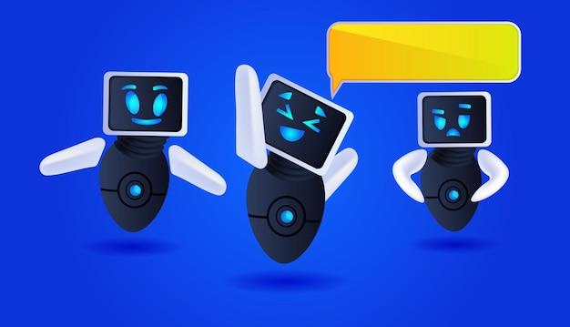Cute robots discutiendo durante la reunión chat burbuja comunicación inteligencia artificial tecnología concepto ilustración vectorial horizontal de longitud completa