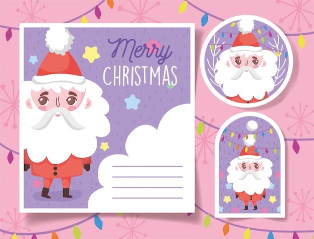Cute santa claus feliz navidad etiquetas y tarjeta