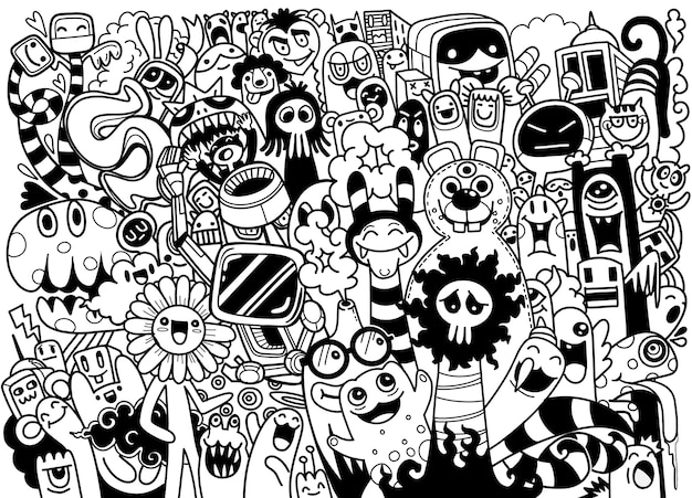 Cute scary halloween monsters and candy, conjunto de divertidos monstruos lindos, extraterrestres o animales de fantasía para niños, libros para colorear o camisetas. ilustración de vector de dibujos animados dibujados a mano línea arte