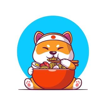 Cute shiba inu comiendo ilustración de vector de dibujos animados de fideos ramen. vector aislado del concepto de la comida animal. estilo de dibujos animados plana