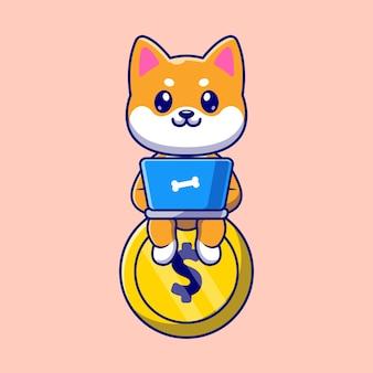 Cute shiba inu trabajando con laptop en ilustración de icono de vector de dibujos animados de moneda de oro. concepto de icono de negocio animal aislado vector premium. estilo de dibujos animados plana