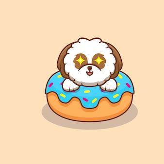 Cute shih-tzu puppy popup de donut cartoon icon illustration