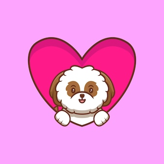 Cute shih-tzu puppy popup from heart and waving paws cartoon icon illustration
