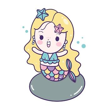 Cute sirena vector niña pequeña caricatura