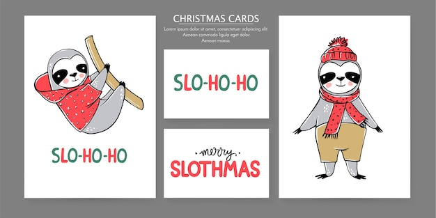 Cute sloth, colección de tarjetas de feliz navidad. ilustraciones divertidas para las vacaciones de invierno. doodle osos perezosos perezosos e inscripciones de letras. feliz año nuevo y navidad conjunto de animales.