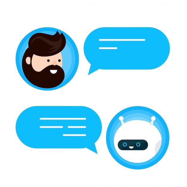 Cute sonriente chat bot se cancela con una persona hombre.