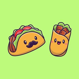 Cute taco and burrito food cartoon icon illustration. concepto de icono de personaje de comida rápida aislado premium. estilo plano de dibujos animados