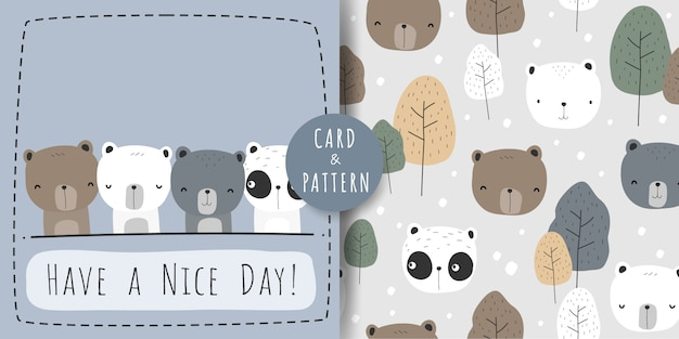 Cute teddy polar panda bear cartoon doodle seamless pattern and card bundle