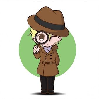Cute trainer personaje de dibujos animados., concepto de trabajo.