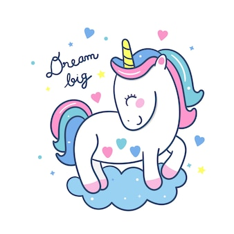 Cute unicorn cartoon dream big series estilo dibujado a mano