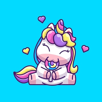 Cute unicorn eat lollipop icon illustration. personaje de dibujos animados de mascota unicornio. concepto de icono animal aislado