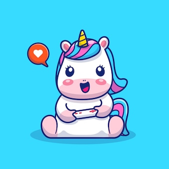 Cute unicorn playing game ilustración. personaje de dibujos animados de mascota unicornio. concepto animal aislado