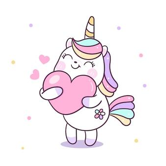 Cute unicornio vector abrazo corazón dibujos animados