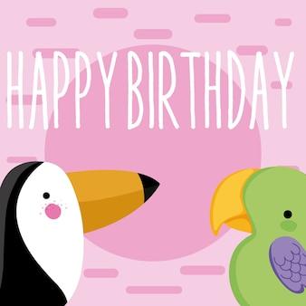 Cute wildlife birds happy birthday card dibujos animados lindo