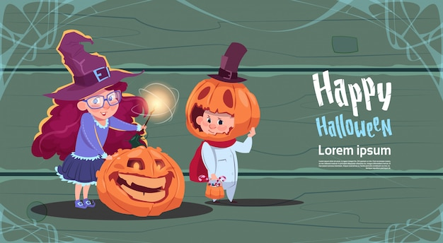 Cute witch and scarecrow, happy halloween banner party celebration concept