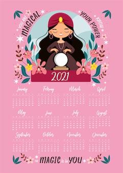 Cute witch deletrea la magia en una caricatura de cristal y un calendario