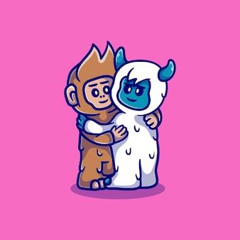 Cute yeti y bigfoot abrazándose