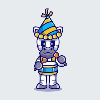Cute zebra celebra el año nuevo tocando la batería