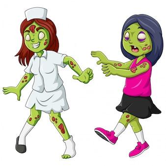 Cute zombie de pie y caminando