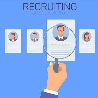 Cv de empleados. reclutando infografía.
