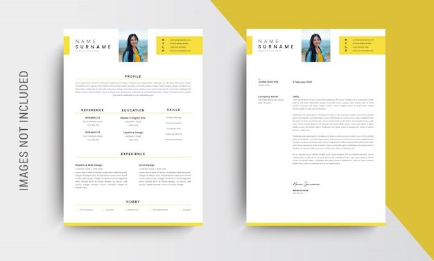 Cv profesional diseño de plantilla de currículum y membrete, carta de presentación, plantillas de solicitudes de empleo, amarillo