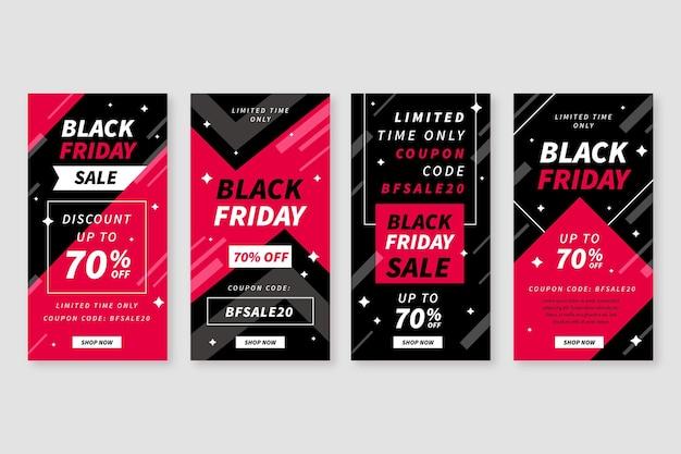 Cyber black friday diseño plano historias de instagram