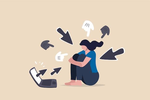Cyber bullying, abuso de internet o concepto de troll en línea.