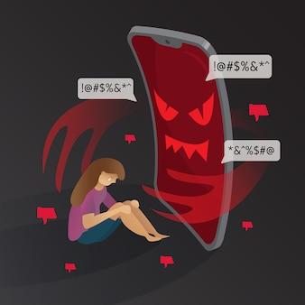 Cyber bullying diablo de teléfono con ilustración de niña triste