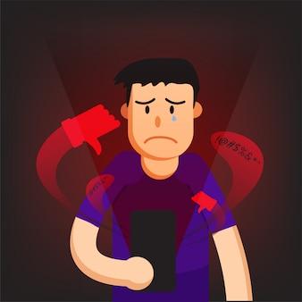 Cyber bullying hombre fondo gráfico vector ilustraciones