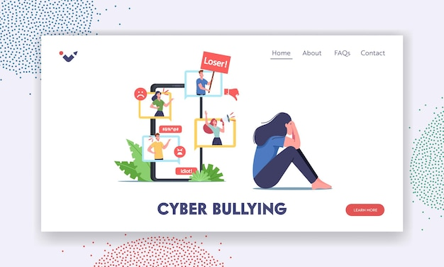 Cyber bullying, social attack, bully hate plantilla de página de destino. personaje adolescente llorando frente a la pantalla del teléfono inteligente después de ser intimidado y llamado nombres desagradables a través de internet. ilustración vectorial de dibujos animados