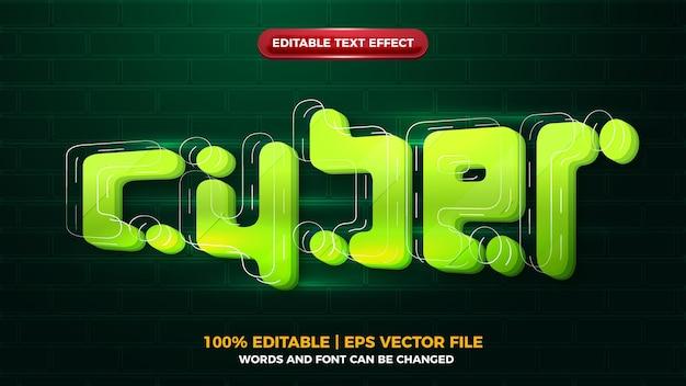 Cyber future glow efecto de texto editbale 3d