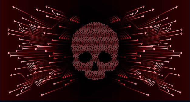 Cyber hacker ataque fondo cráneo vector