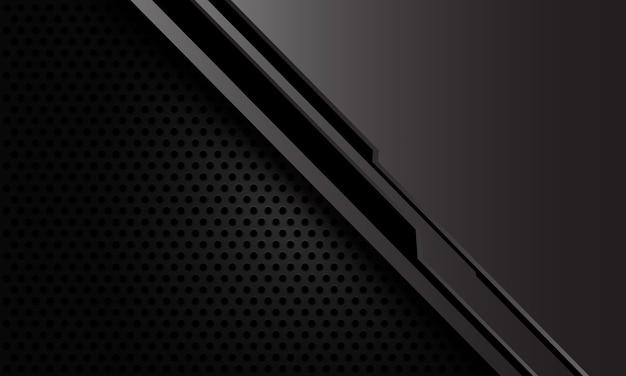 Cyber de línea negra metálica gris abstracta sobre fondo de tecnología futurista de malla de círculo oscuro.