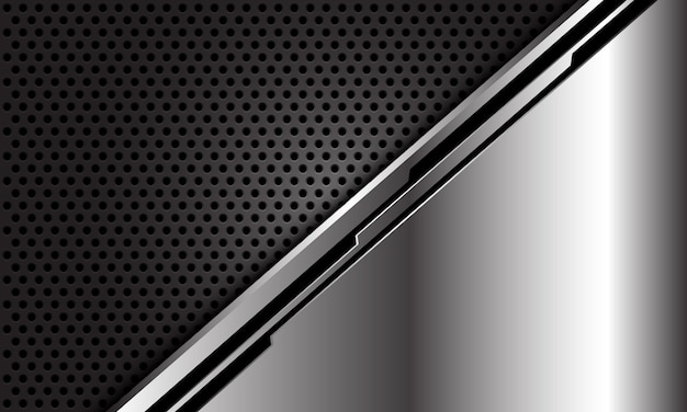 Cyber de línea negra plateada abstracta sobre fondo de tecnología futurista de lujo moderno de malla de círculo oscuro.