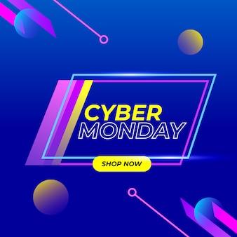 Cyber lunes letrero de neón de fondo