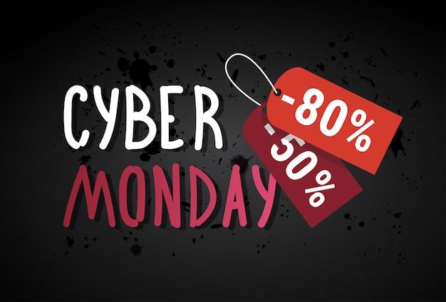 Cyber monday banner de venta con etiquetas de compras sobre fondo grunge descuento en línea diseño de póster de descuento