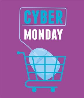 Cyber monday, carrito de compras con ratón conectado digital