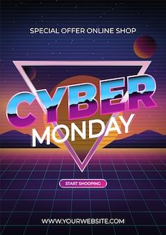 Cyber monday, compras en línea y concepto de marketing. ilustración. planetas sobre un fondo de neón
