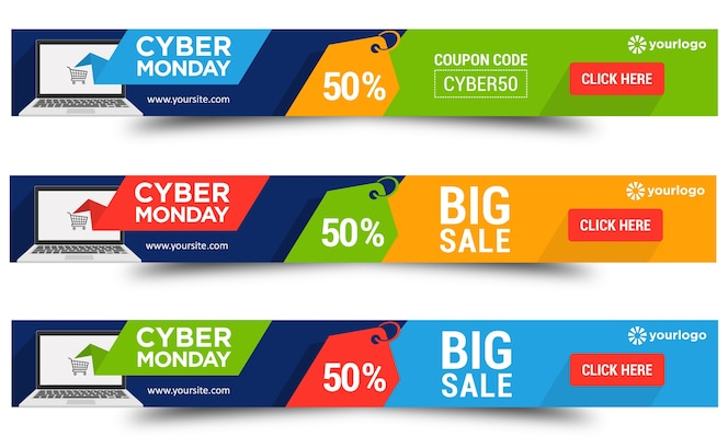 Cyber monday flat style leaderboard banners