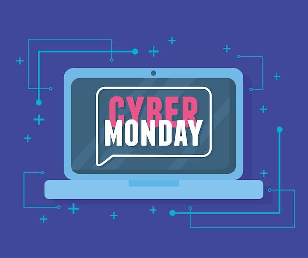 Cyber monday, ilustración de vector virtual de mensaje de publicidad portátil