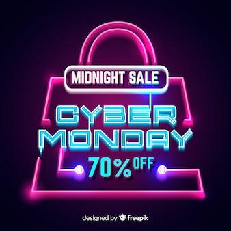 Cyber monday de neón con una bolsa de compras