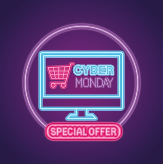 Cyber monday neon con carrito en diseño de computadora, venta de comercio electrónico, compras en línea