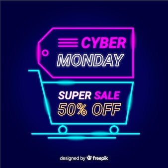 Cyber monday de neón con etiqueta y carrito de compras