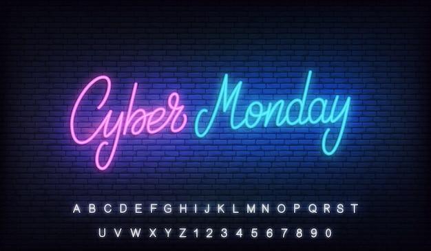 Cyber monday neon. signo de letras brillantes
