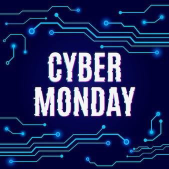 Cyber monday en la placa de circuito azul de alta tecnología abstracta.
