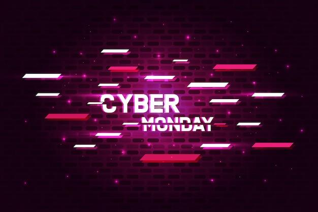 Cyber monday poster banner con concepto brillante y glitch.