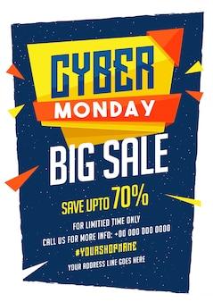 Cyber monday sale banner design con oferta de descuento.