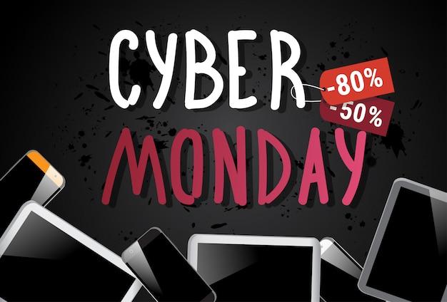 Cyber monday sale banner con tabletas digitales sobre fondo descuento de compras en línea póster