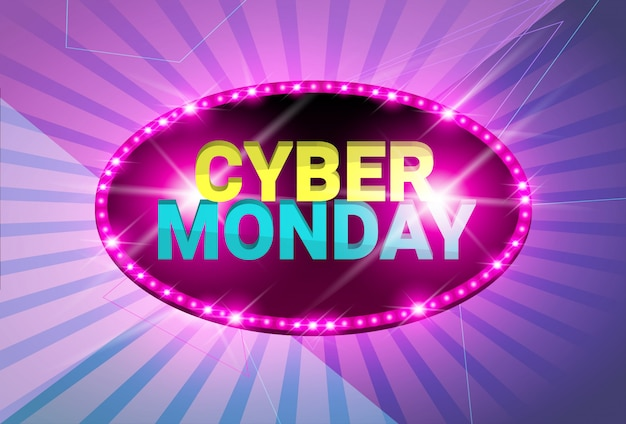 Cyber monday sale neon banner glossy design